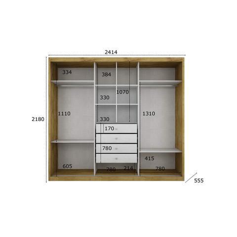 Imagem de Quarto de Casal Completo MadeiraMadeira com Guarda Roupa 3 Portas 4 Gavetas e Cabeceira com 2 Criados Mudos 400881 Canela