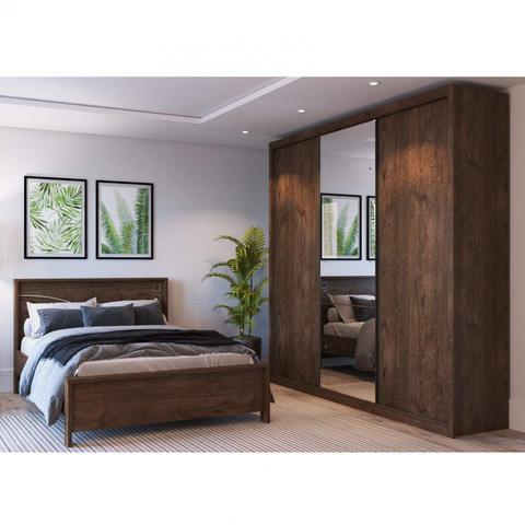 Imagem de Quarto de Casal Completo MadeiraMadeira com Guarda Roupa 3 Portas 6 Gavetas e Cama 401305 Canela