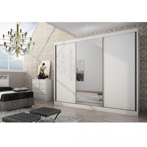 Imagem de Quarto de Casal Completo MadeiraMadeira com Guarda Roupa 3 Portas 8 Gavetas e Cabeceira com 2 Criados Mudos 401457 Branco