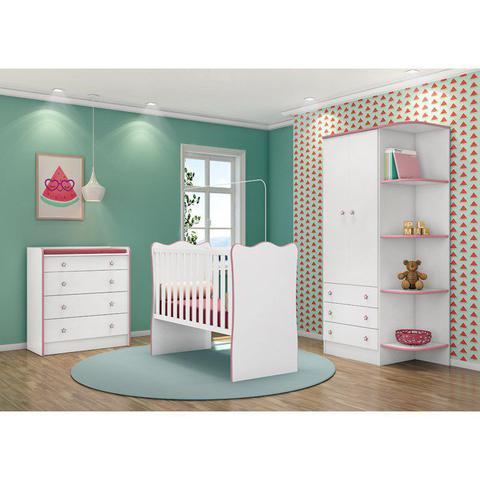 Imagem de Quarto Infantil 03 Peças Doce Sonho 1X2523X825 Branco Rosa Com Colchao Qmovi