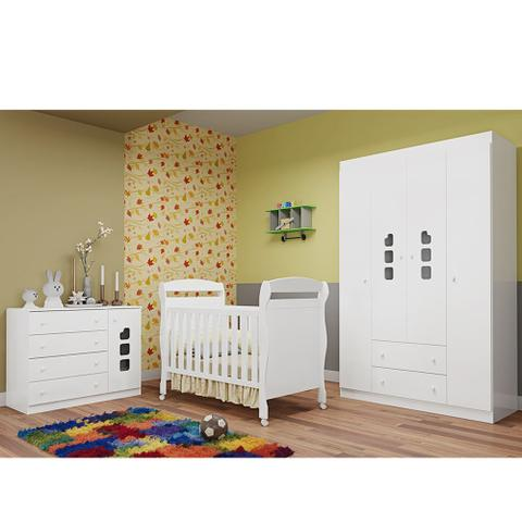 Imagem de Quarto Infantil com Berço Danny  + Guarda Roupa 4 Portas, Cômoda Livia - Phoenix Baby