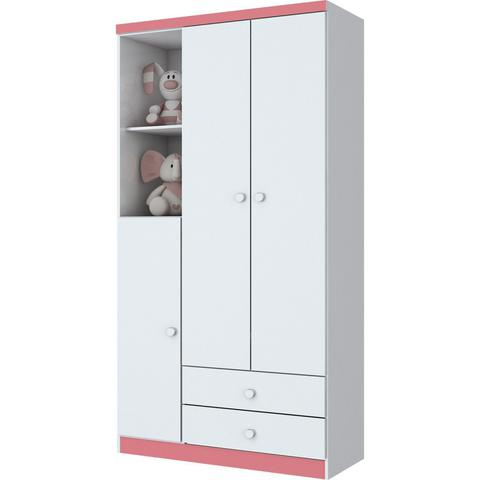 Imagem de Quarto Infantil com Guarda Roupa 3 Portas, Cômoda e Berço Faz de Conta Espresso Móveis Branco/Branco/Rosa