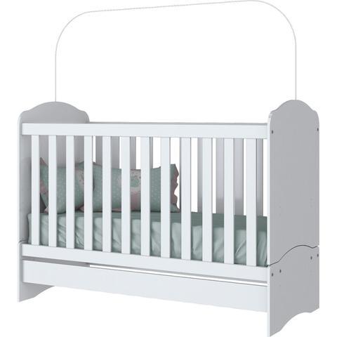 Imagem de Quarto Infantil com Guarda Roupa 3 Portas, Cômoda e Berço Faz de Conta Siena Móveis Branco/Branco/Rosa