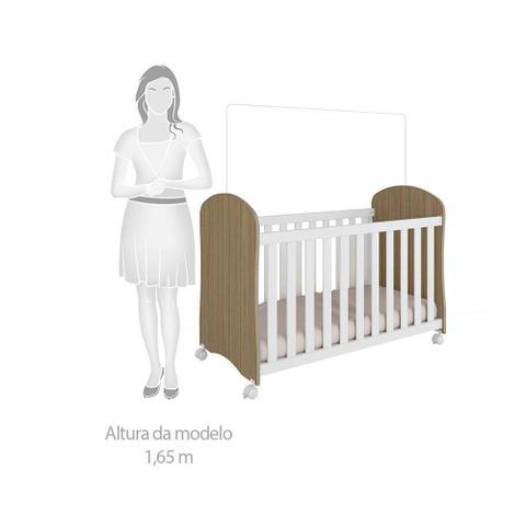 Imagem de Quarto Infantil Com Guarda Roupa Luna 02 Portas com Prateleira Cômoda Smim e Berço Smim 3 em 1 Carvalho/Branco Móveis Peroba