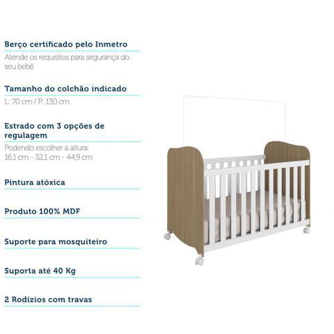 Imagem de Quarto Infantil Com Guarda Roupa Luna 02 Portas Cômoda Junior e Berço Uli Americano Carvalho/Branco Móveis Peroba