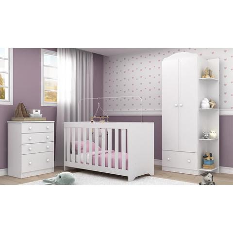 Imagem de Quarto Infantil Completo João e Maria com berço 3 em 1 + colchão + Roupeiro e cômoda Branco Multi