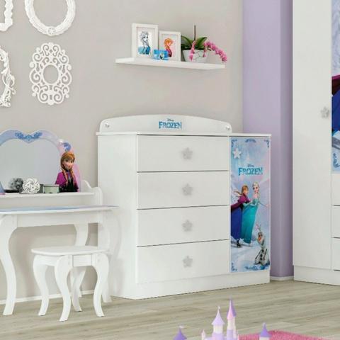 Imagem de Quarto Infantil Completo MadeiraMadeira com Cômoda, Guarda Roupa e Cama 404891 Branco/Rosa