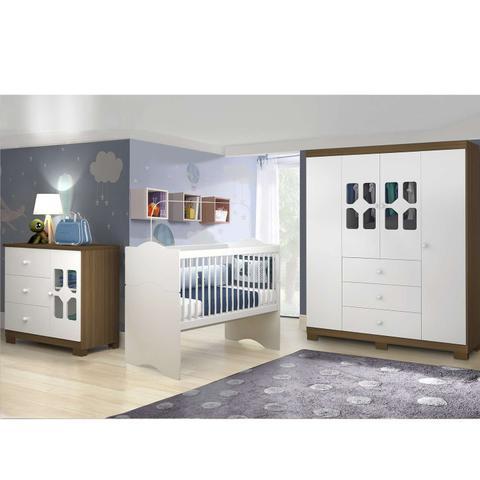 Imagem de Quarto Infantil Completo New Cristal e Berço Mini Cama Alegria Wengue - Moveis Canaã