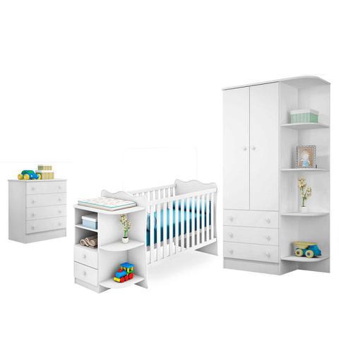Imagem de Quarto Infantil Doce Sonho Berço Cômoda Branco/Branco - Qmovi