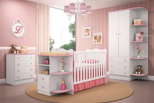Imagem de Quarto Infantil Doce Sonho Berço Cômoda Branco/Rosa - Qmovi