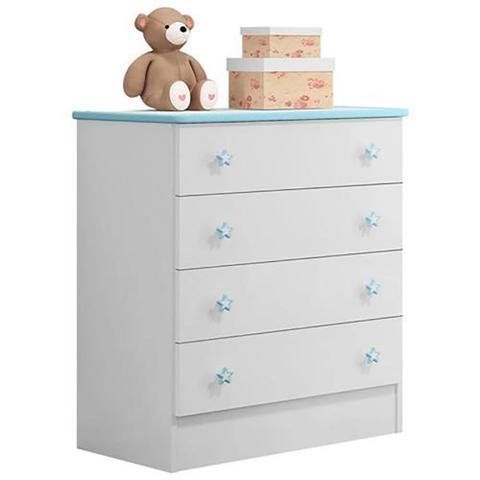 Imagem de Quarto Infantil Doce Sonho - Berço Simples - Branco/Azul - Qmovi
