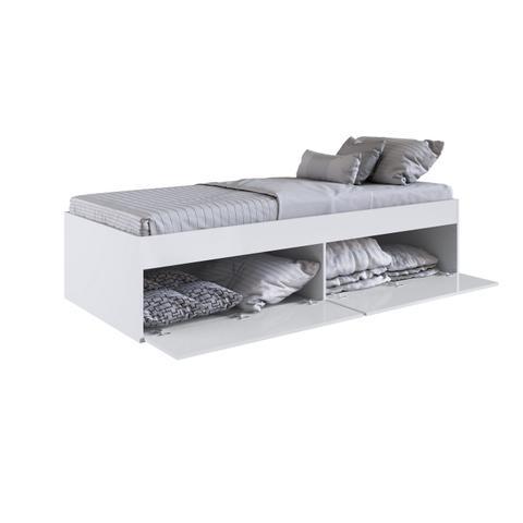 Imagem de Quarto Juvenil com Cama 80 e Mesa de Cabeceira Tókio Branco - Art In Móveis