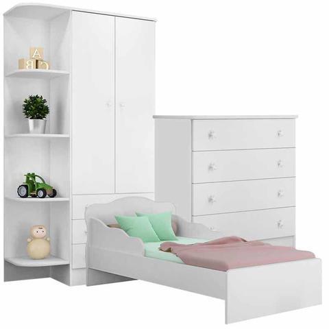 Imagem de Quarto Juvenil Completo Doce Sonho com Mini Cama Branco - Qmovi