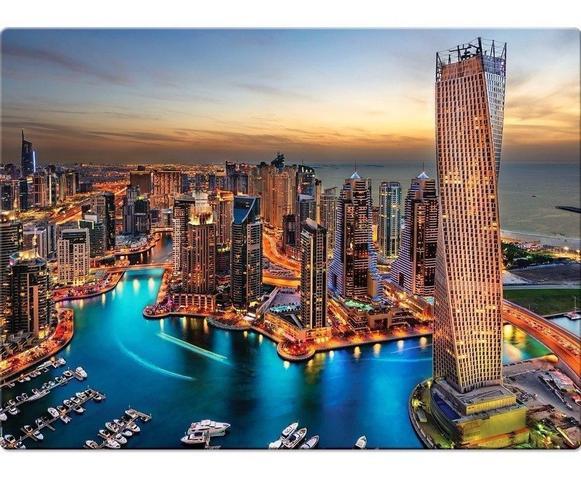 Imagem de Quebra Cabeça 1000 Peças Paisagens Noturnas Marina De Dubai