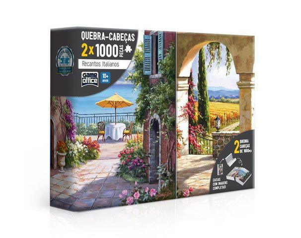Imagem de Quebra-Cabeça 2x 1000 Peças Recantos Italianos - Toscana e Vinha Italiana - Toyster