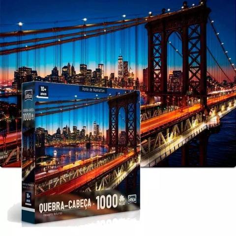 Imagem de Quebra-cabeçá paisagens noturnas 1000 peças marina de dubai e ponte de manhattan toyster