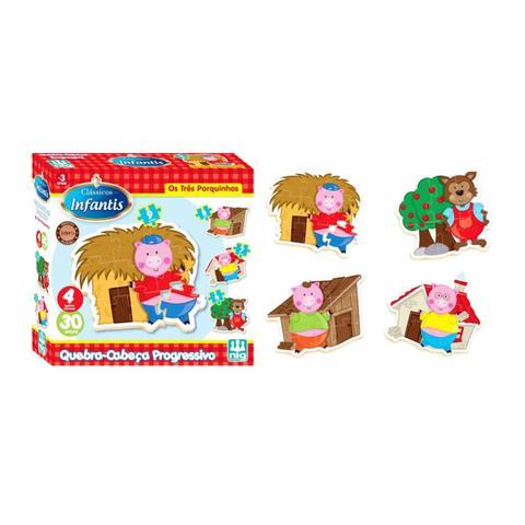 Imagem de Quebra Cabeça Progresso Os Três Porquinhos - Nig Brinquedos