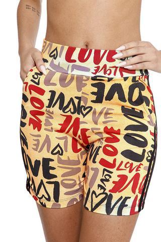 Imagem de Racana - Shorts Ciclista Adulto Feminina Love laranja - RAC5401-LR