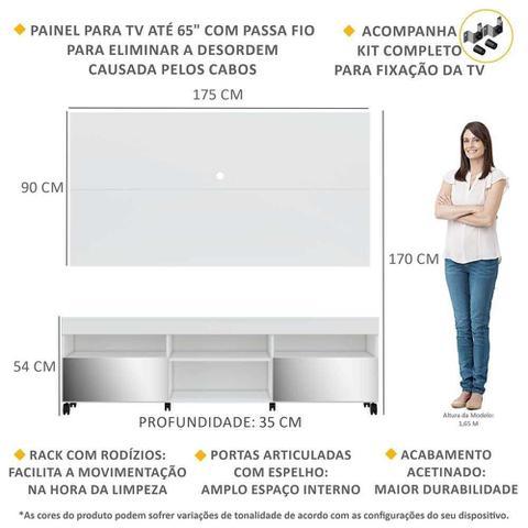 Imagem de Rack com Espelho, Rodízios, Painel e Suporte TV 65