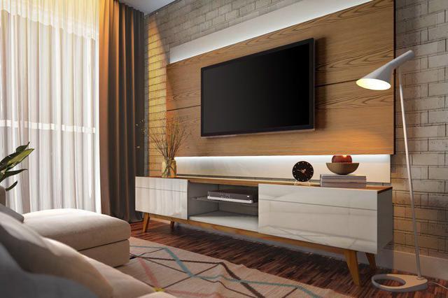 Imagem de Rack com Painel Classic 2G 2.2 com LED Freijó com Off White - Imcal Móveis