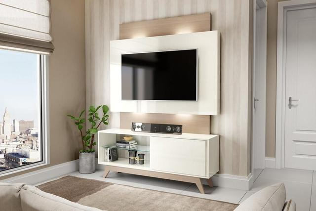 Imagem de Rack com Painel para Tv 55 Polegadas com Led Off White e Natural