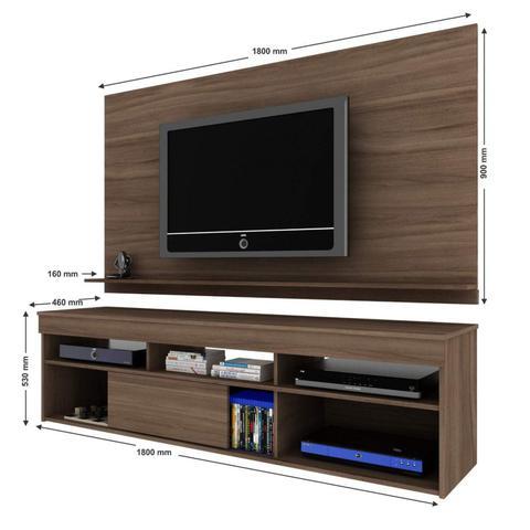 Imagem de Rack com Painel para TV até 55 Polegadas 1 Porta de Correr Elegance Moderno Siena Móveis Malbec