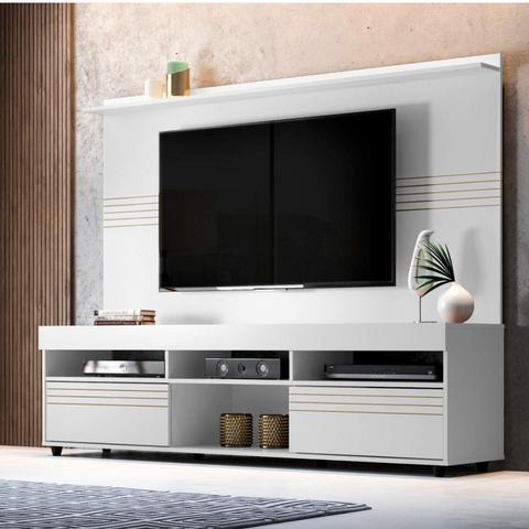 Imagem de Rack com Painel para TV até 60 Polegadas Samba Siena Móveis Branco
