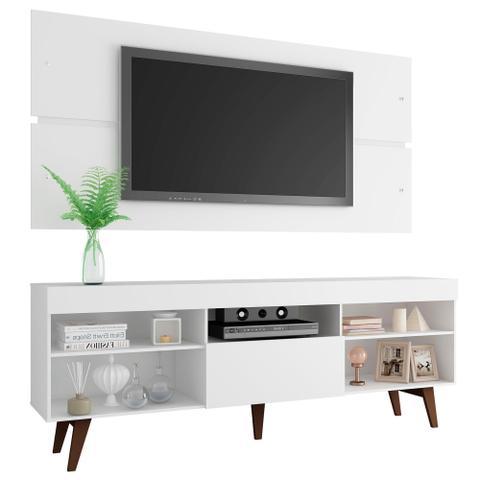 Imagem de Rack com Painel para TV até 65 Polegadas Madesa Miami com Pés - Branco/Rustic