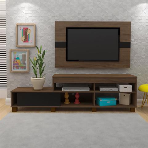 Imagem de Rack Com Painel Para TV Ever Amêndoa E Preto Artely