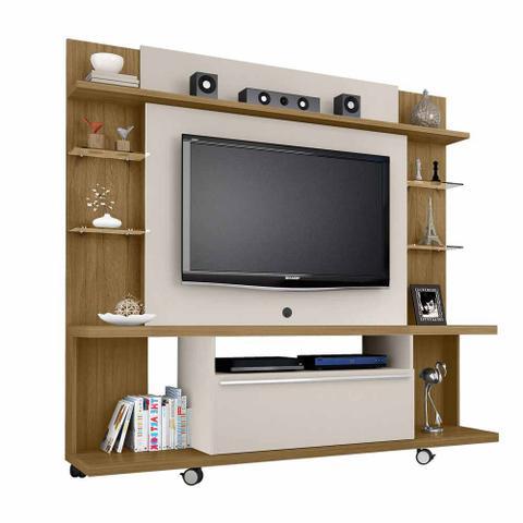 Imagem de Rack Painel Home Para Tv 50 Pol Com Rodas Cor marrom e bege