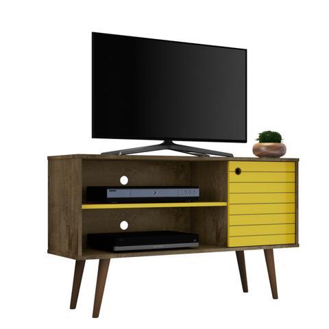 Imagem de Rack para TV até 42 Polegadas 1 Porta Retrô Jade Móveis Bechara Madeira Rústica/Amarelo