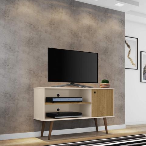 Imagem de Rack para TV até 42 Polegadas 1 Porta Retrô Jade Móveis Bechara Off White/Cinamomo Off White/Cinamomo