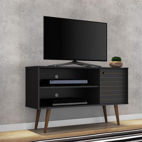 Imagem de Rack para TV até 42 Polegadas 1 Porta Retrô Jade Móveis Bechara Preto