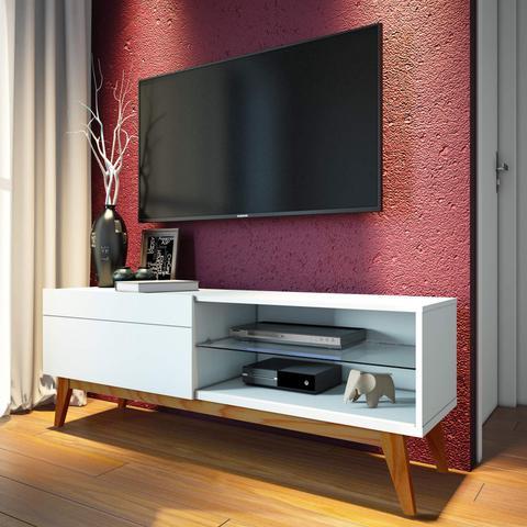 Imagem de Rack para TV até 55 Polegadas 1 Gaveta Classic Retrô 52cmx146cm Imcal Branco Acetinado