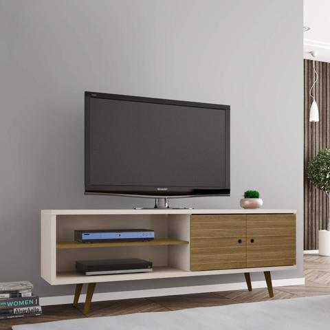 Imagem de Rack para TV até 60 Polegadas 2 Portas Retrô Ônix Decor Móveis Bechara Off White/Cinamomo