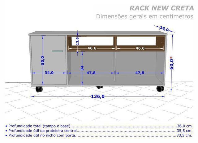 Imagem de Rack para TV New Creta Cinamomo com Off White - Móveis Bechara