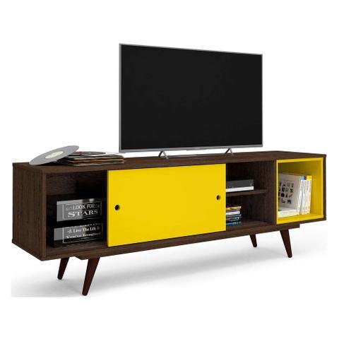 Imagem de Rack Retrô Goslar Rustik Carvalho e Amarelo 162 cm