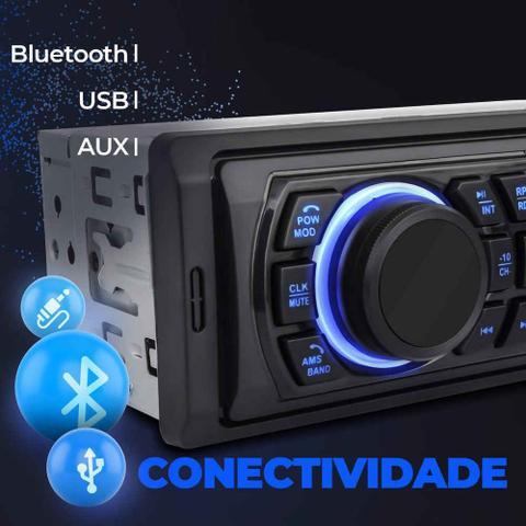 Imagem de Rádio Automotivo Multilaser Trip BT P3344 MP3 Player 1 Din USB Auxiliar FM Controle SmartBT iPlug
