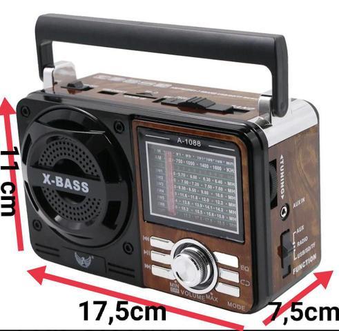Imagem de Rádio marrom antigo vintage retrô FM AM SW pendrive SD USB com lanterna