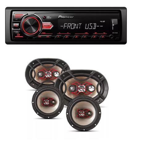 Imagem de Radio Mp3 Player Pioneer Mvh-298bt Bluetooth Usb e Kit Auto Falante Bravox Facil 6   Triaxial Quadriaxial 6x9