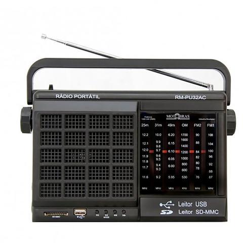 Imagem de Rádio Portátil AM e FM 6 Faixas Com USB SD Motobras RM-PU32AC