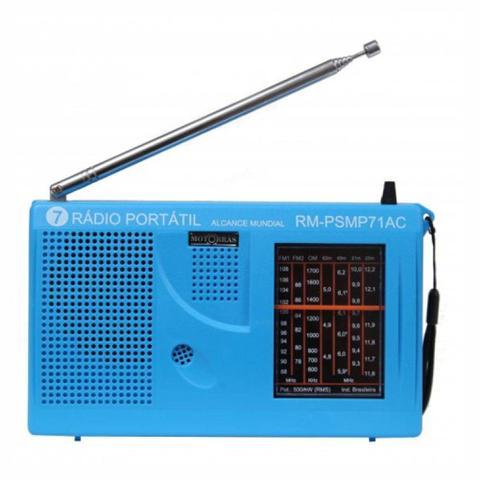 Imagem de Rádio Portátil AM e FM 7 faixas Azul Motobras rm-psmp71ac - Motobrás