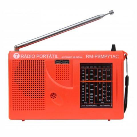 Imagem de Rádio Portátil AM e FM 7 faixas Laranja Motobras rm-psmp71ac