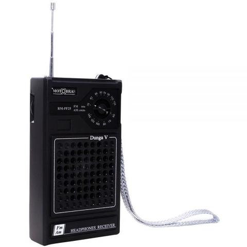 Imagem de Rádio Portátil Dunga AM/FM 300mW RM-PF25 Preto - Motobras
