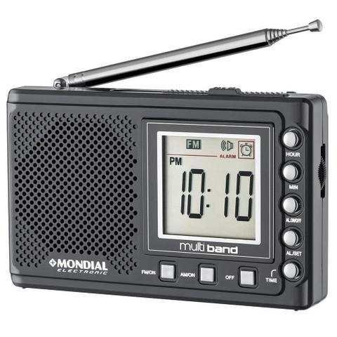 Imagem de Rádio Portátil Mondial Multi Band II, Rádio AM/FM/SW, Display digital, Funções relógio e alarme, Bivolt