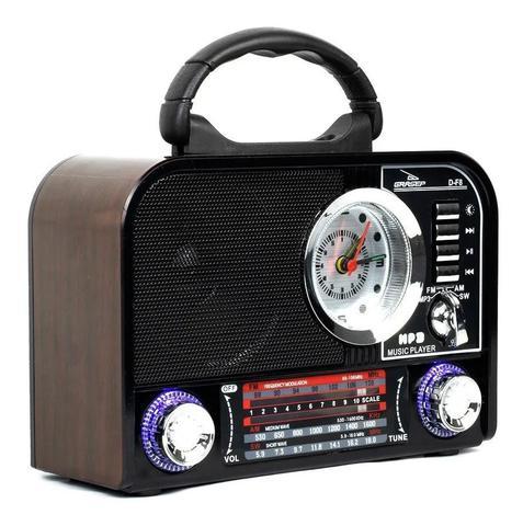 Imagem de Rádio Portátil Retrô Fm Am Bluetooth Usb Relógio Despertador D-F8