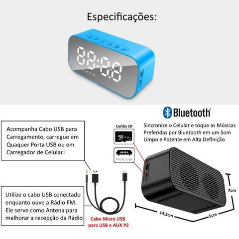 Imagem de Rádio Relógio Bluetooth Despertador Digital Caixa de Som Espelhado Azul