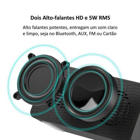 Imagem de Rádio Relógio Bluetooth Despertador Digital Caixa de Som Espelhado Vermelho