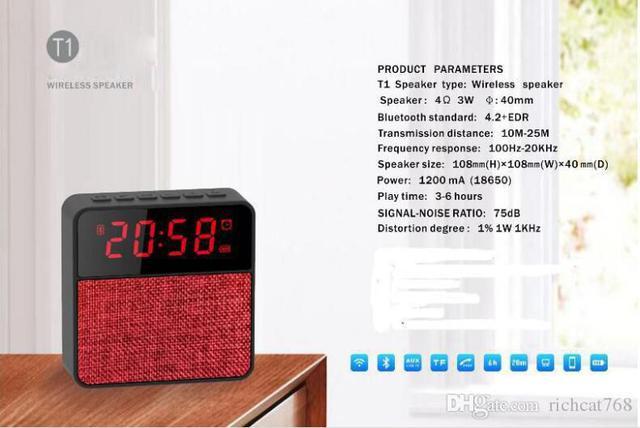 Imagem de Radio Relógio Bluetooth Mp3 Player T1 Com Despertador Fm Usb Micro Usb