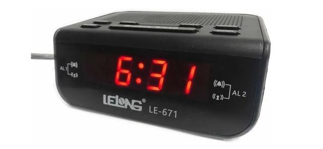 Imagem de Rádio Relógio Despertador Alarme Duplo Digita Lelong Le-671